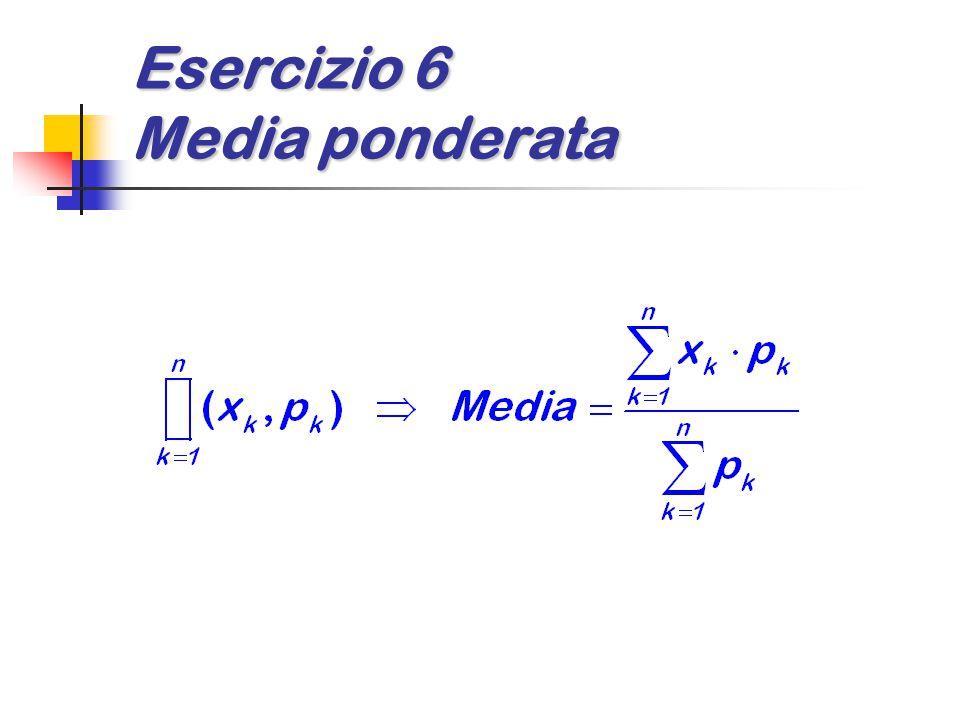 Esercizio 6 Media ponderata