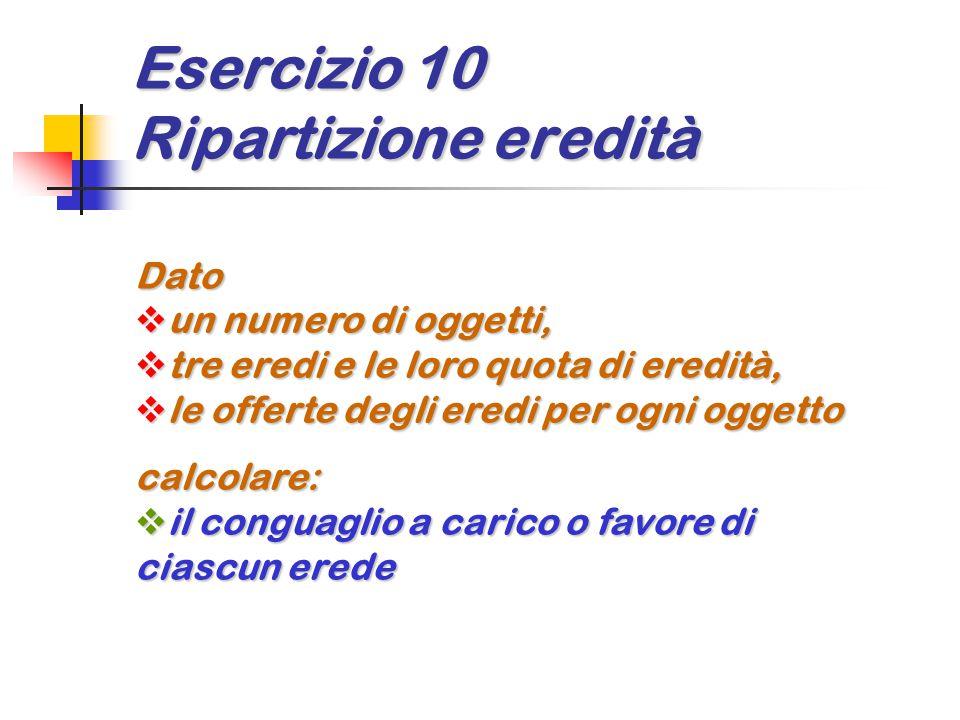 Esercizio 10 Ripartizione eredità