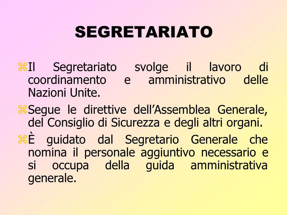 SEGRETARIATO Il Segretariato svolge il lavoro di coordinamento e amministrativo delle Nazioni Unite.