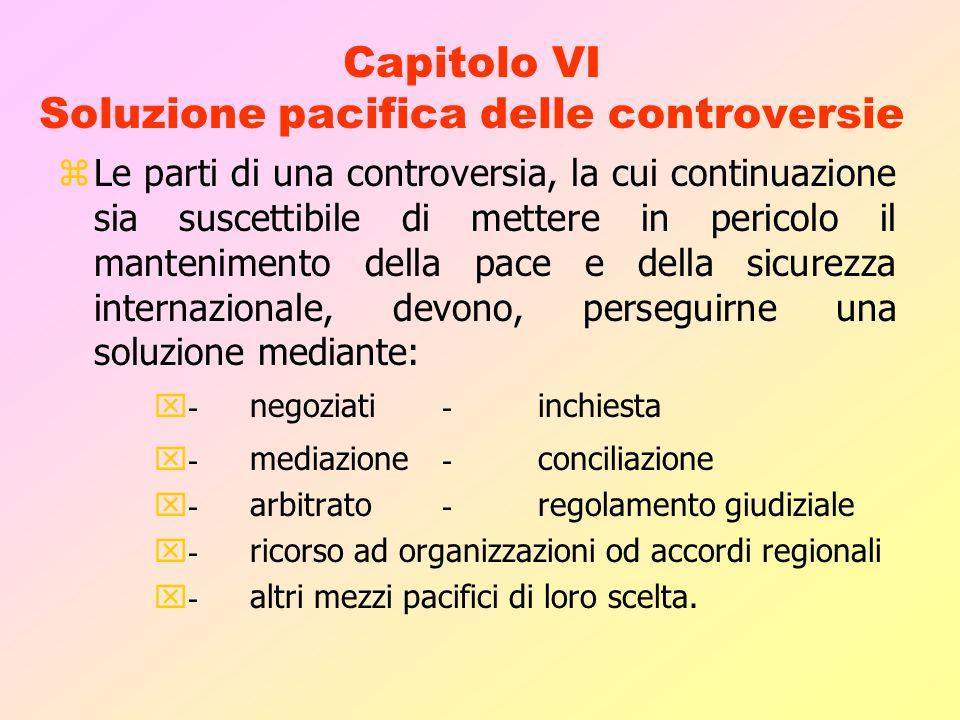 Capitolo VI Soluzione pacifica delle controversie