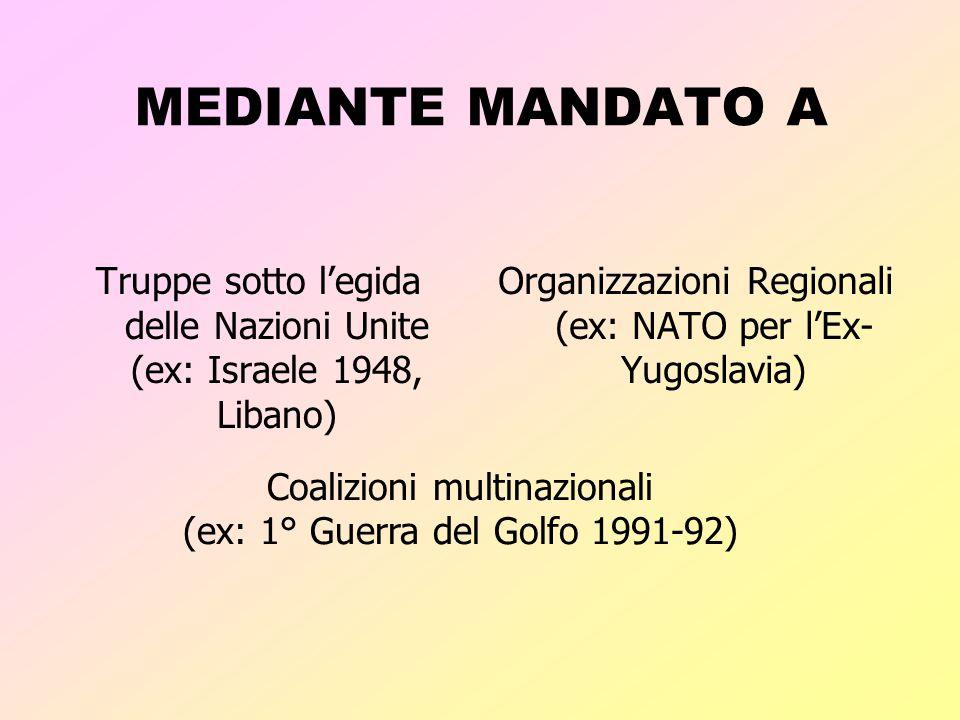 MEDIANTE MANDATO A Truppe sotto l'egida delle Nazioni Unite (ex: Israele 1948, Libano) Organizzazioni Regionali (ex: NATO per l'Ex-Yugoslavia)