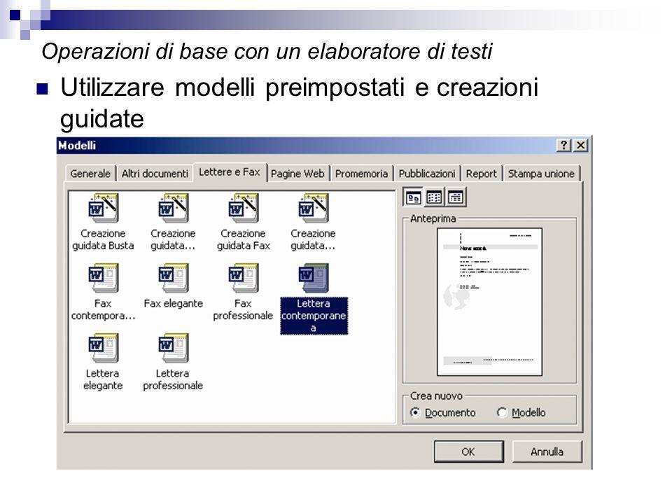 Operazioni di base con un elaboratore di testi