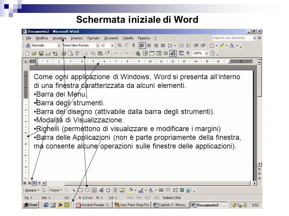 Schermata iniziale di Word