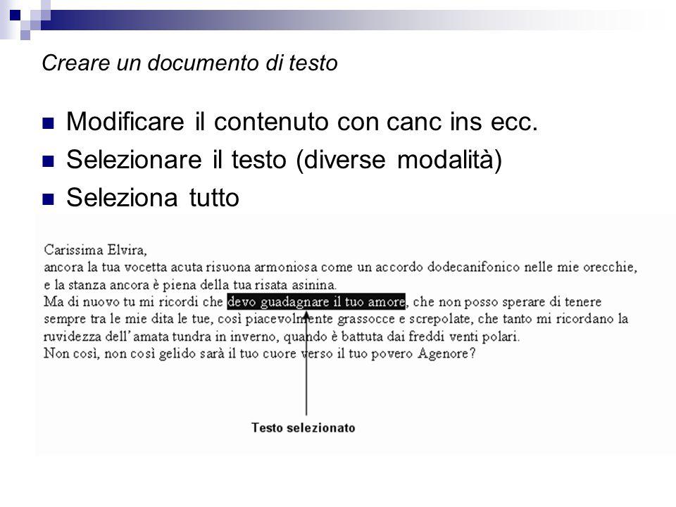 Creare un documento di testo