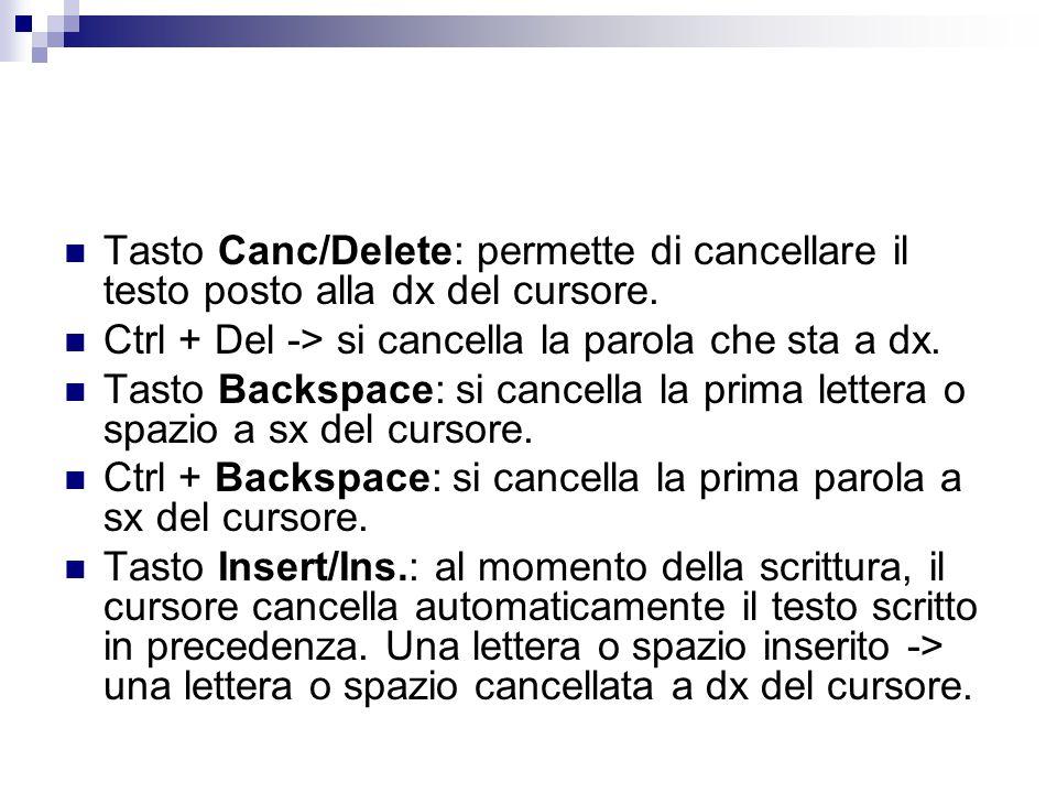 Tasto Canc/Delete: permette di cancellare il testo posto alla dx del cursore.
