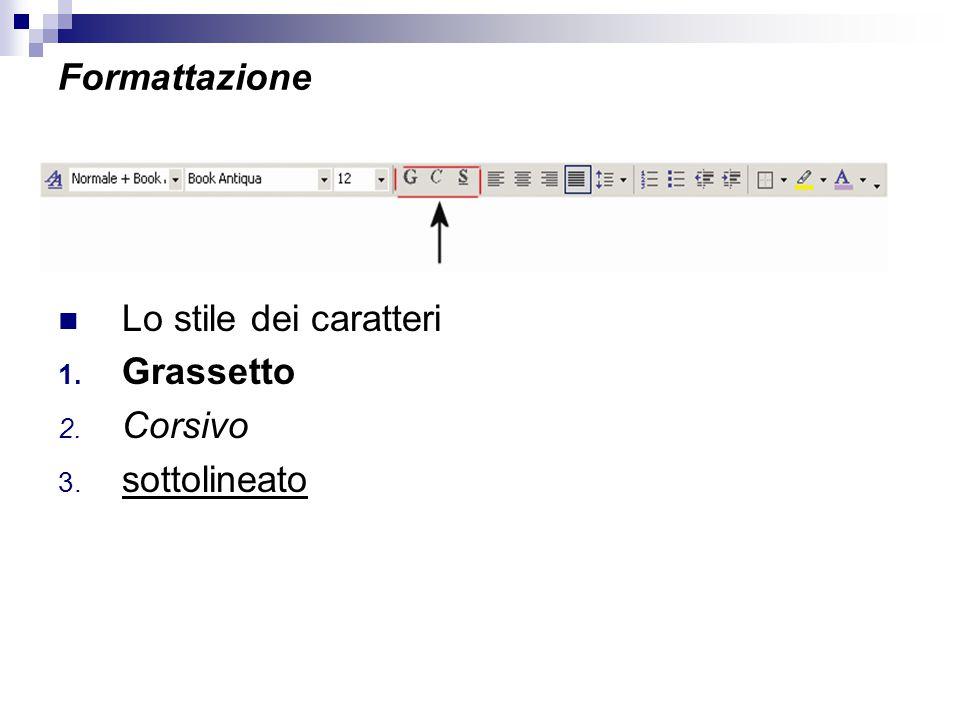 Formattazione Lo stile dei caratteri Grassetto Corsivo sottolineato