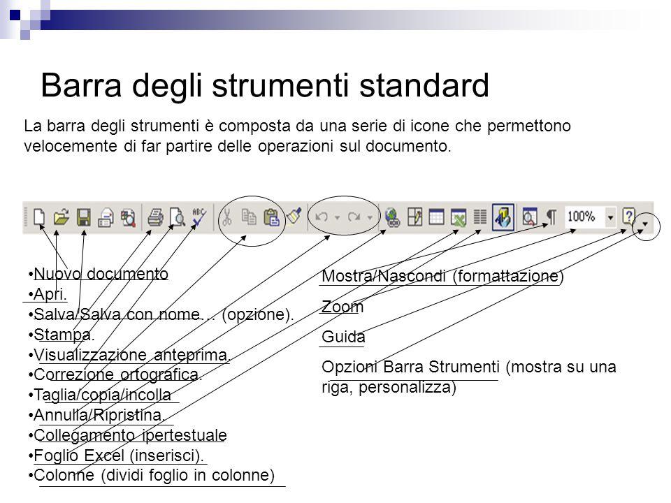 Barra degli strumenti standard