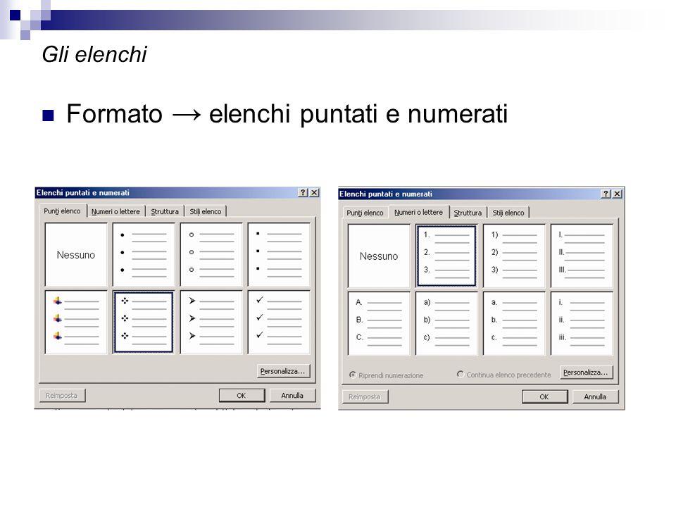 Formato → elenchi puntati e numerati