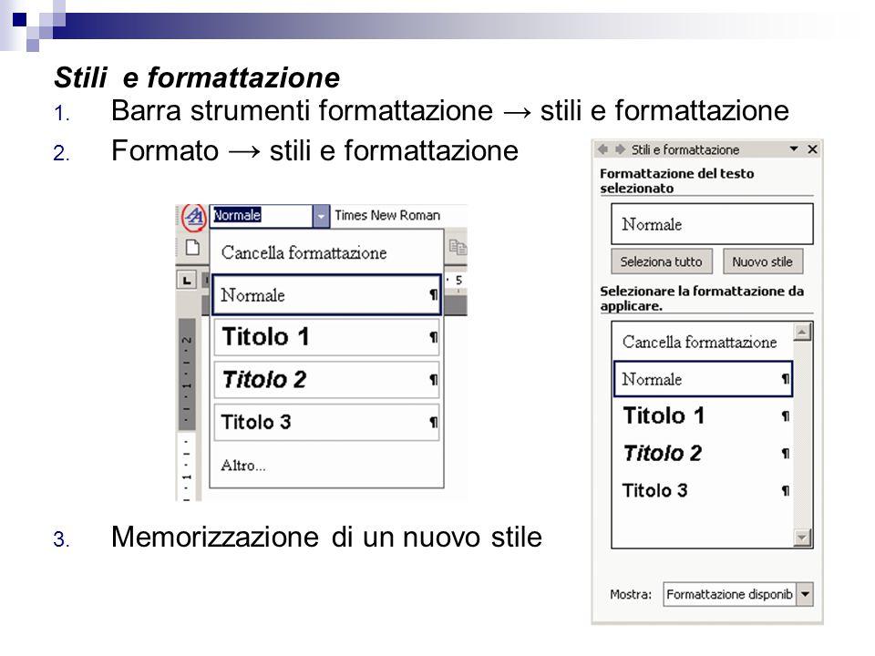 Stili e formattazione Barra strumenti formattazione → stili e formattazione. Formato → stili e formattazione.