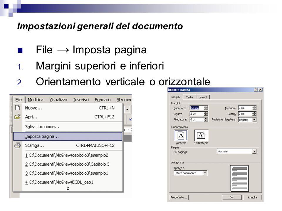 Impostazioni generali del documento