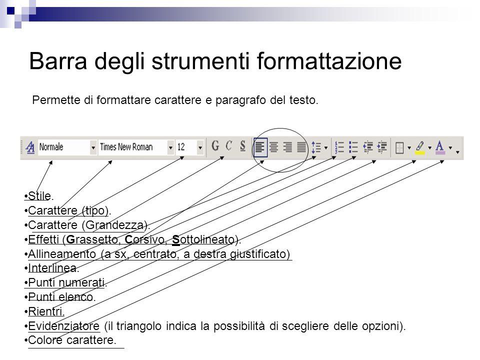 Barra degli strumenti formattazione