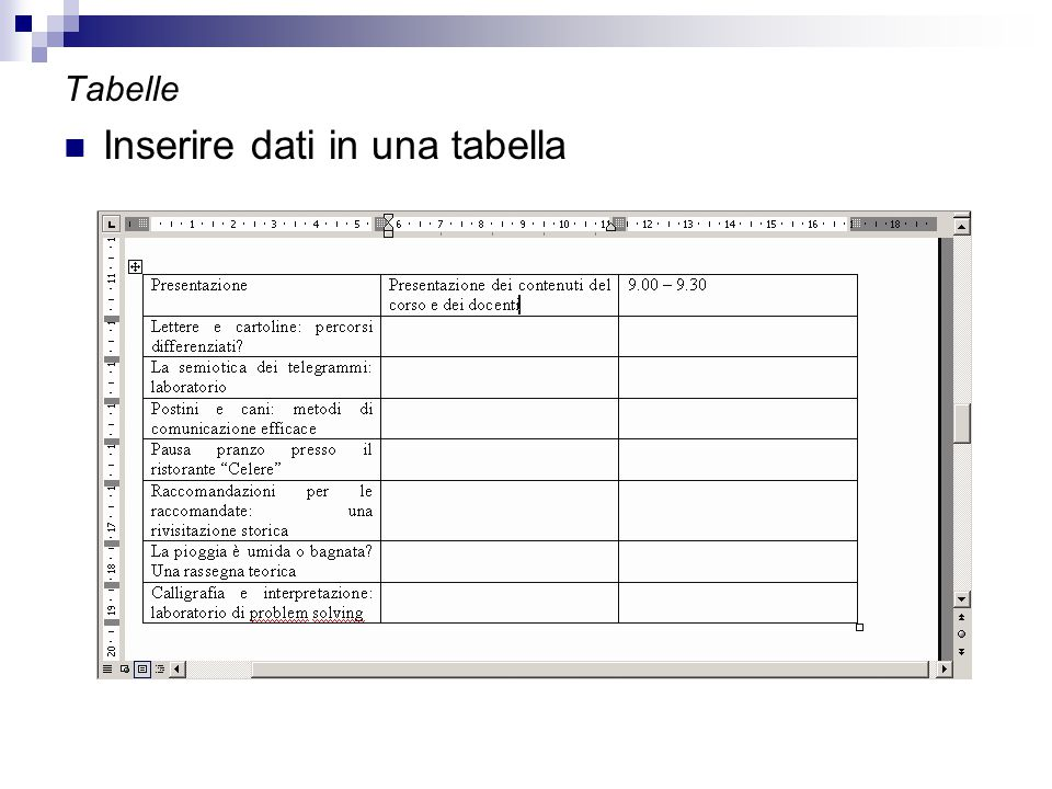 Inserire dati in una tabella
