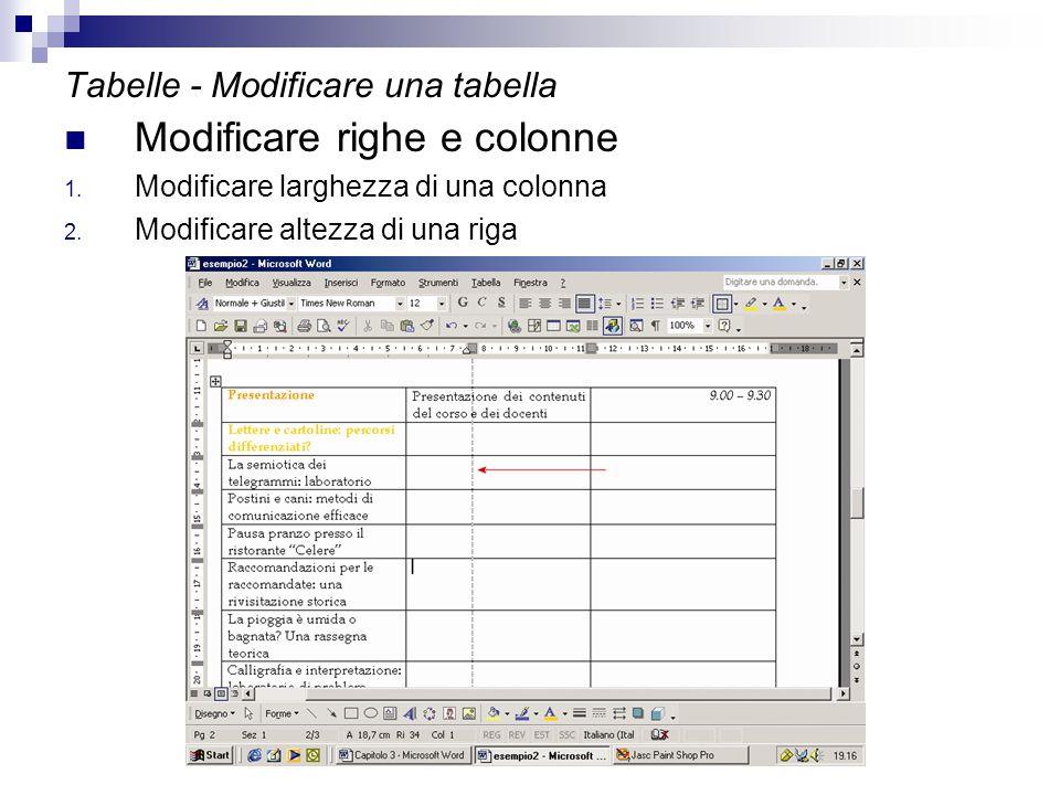 Tabelle - Modificare una tabella