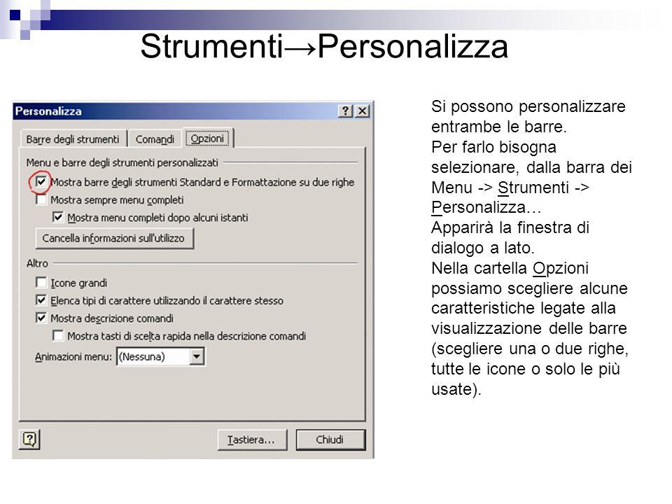 Strumenti→Personalizza