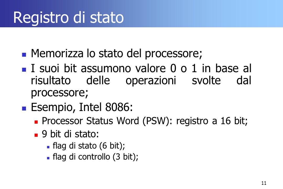 Registro di stato Memorizza lo stato del processore;