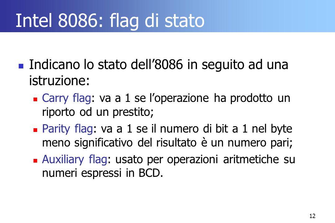 Intel 8086: flag di stato Indicano lo stato dell'8086 in seguito ad una istruzione:
