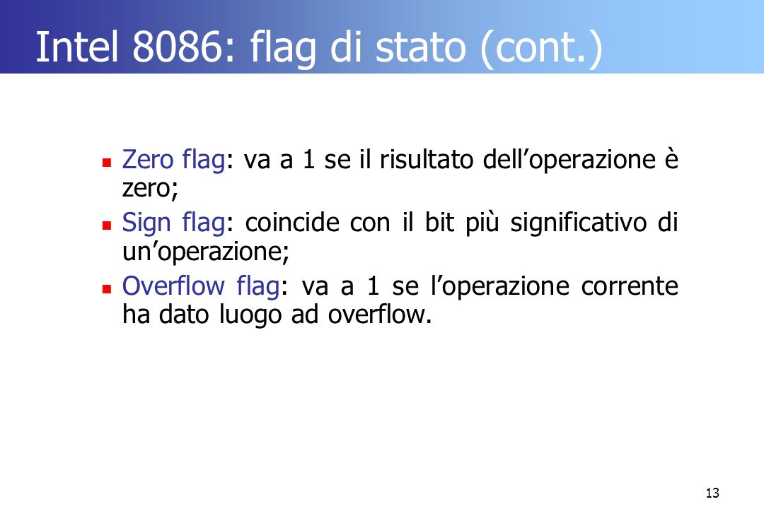 Intel 8086: flag di stato (cont.)