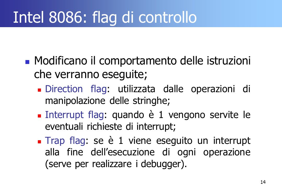 Intel 8086: flag di controllo