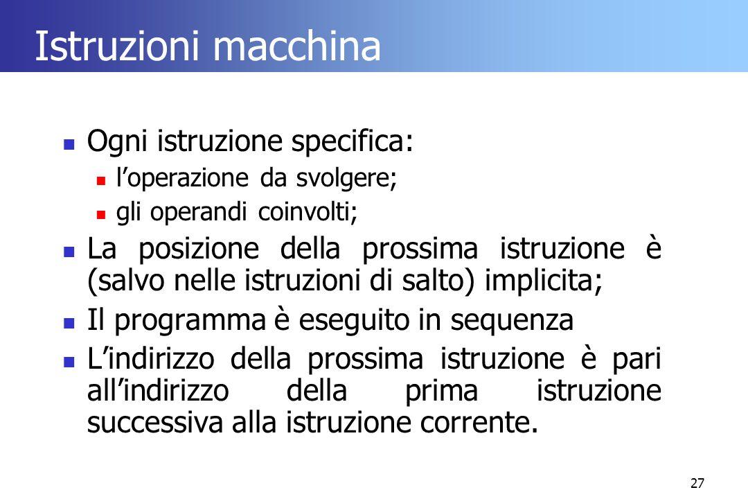 Istruzioni macchina Ogni istruzione specifica: