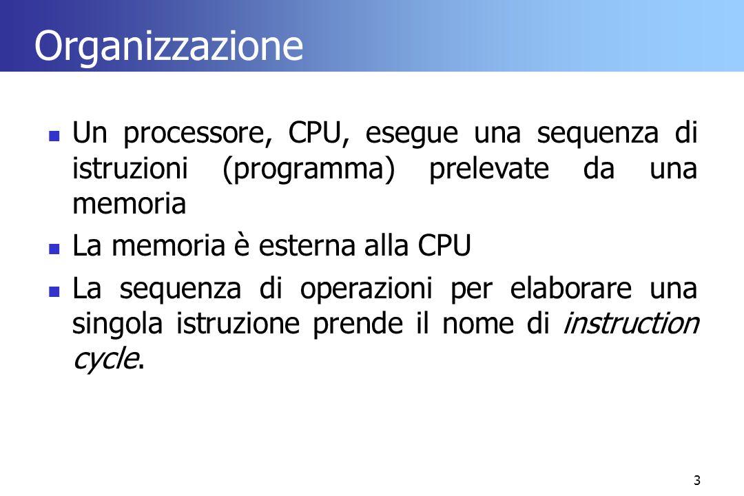 Organizzazione Un processore, CPU, esegue una sequenza di istruzioni (programma) prelevate da una memoria.