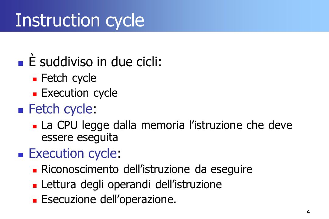 Instruction cycle È suddiviso in due cicli: Fetch cycle: