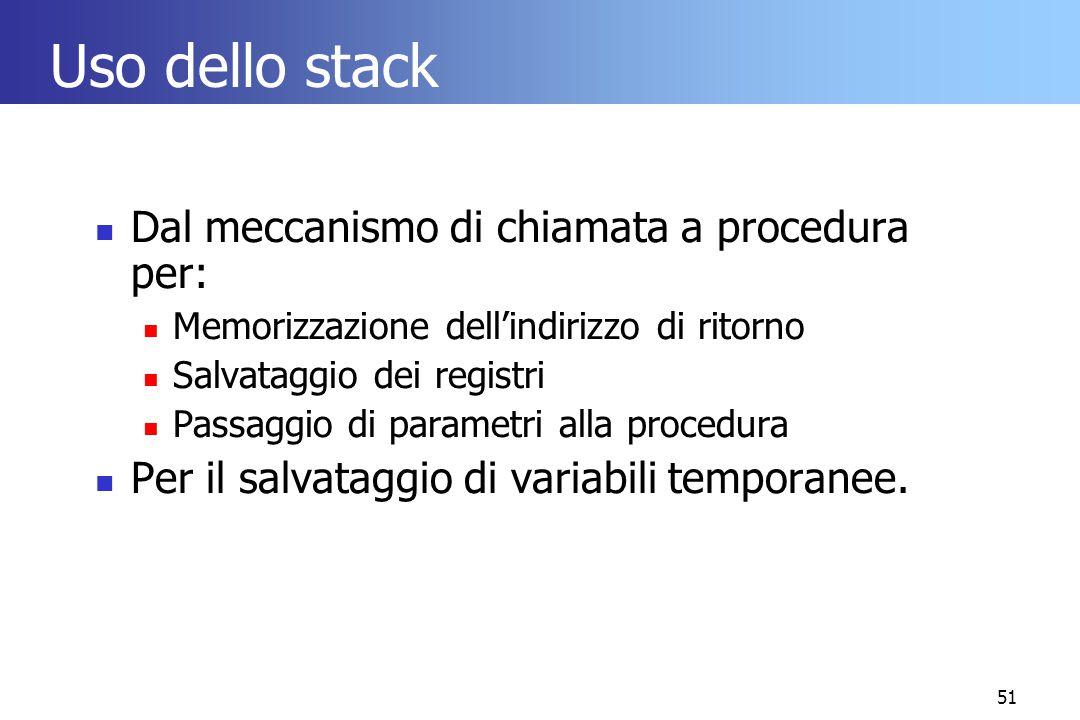 Uso dello stack Dal meccanismo di chiamata a procedura per:
