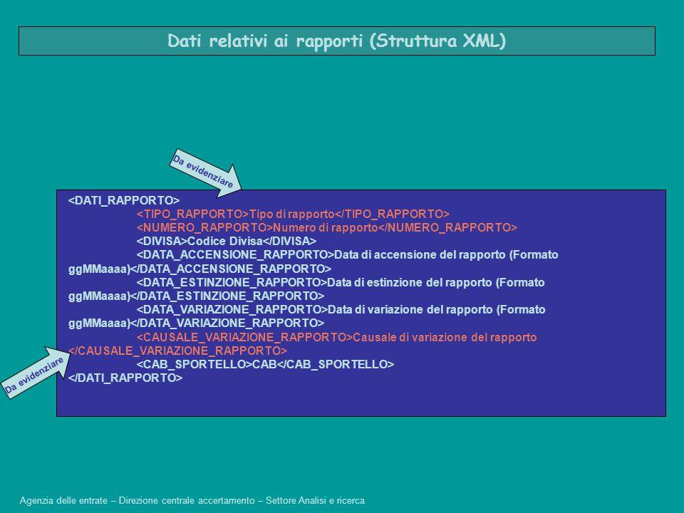 Dati relativi ai rapporti (Struttura XML)