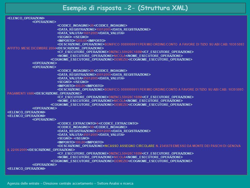 Esempio di risposta -2- (Struttura XML)