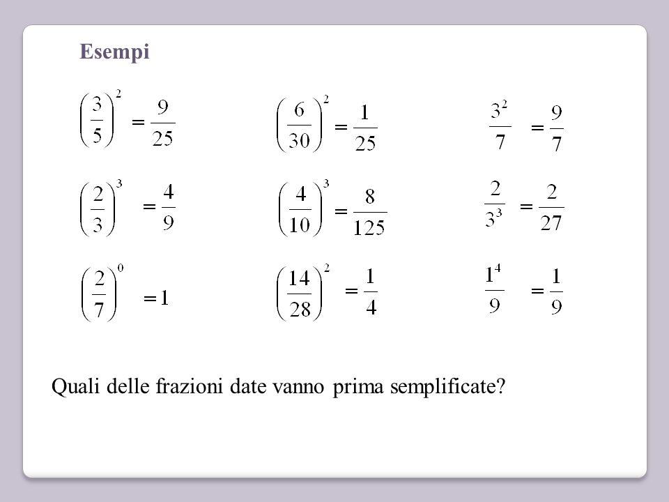 Esempi Quali delle frazioni date vanno prima semplificate