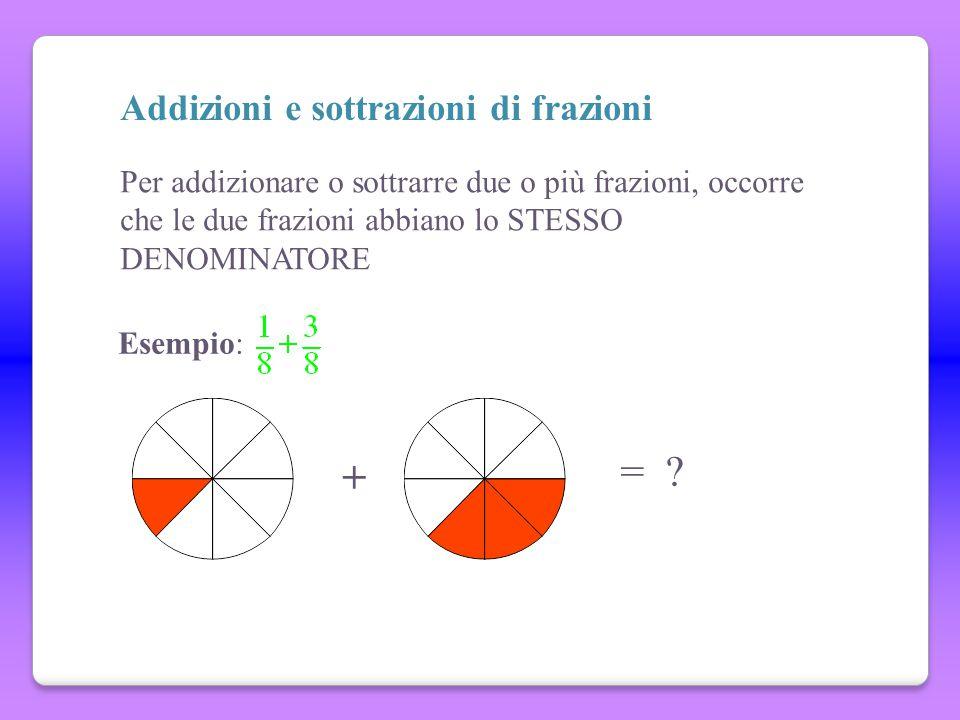 = + Addizioni e sottrazioni di frazioni