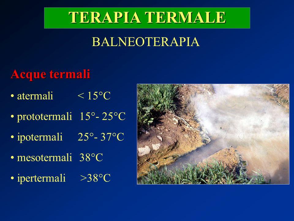 TERAPIA TERMALE BALNEOTERAPIA Acque termali atermali < 15°C