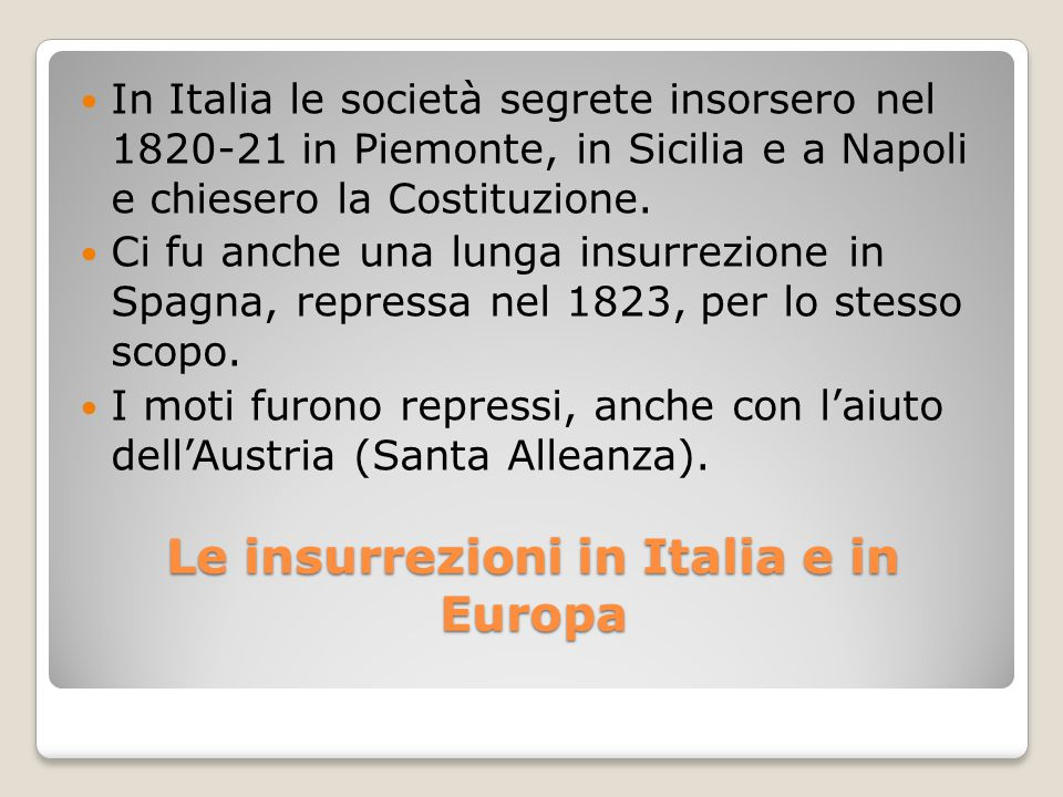 Le insurrezioni in Italia e in Europa