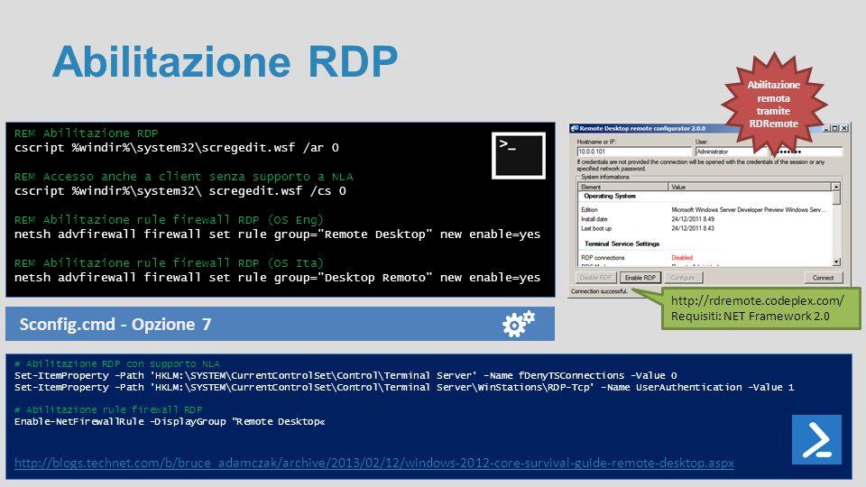Abilitazione remota tramite RDRemote