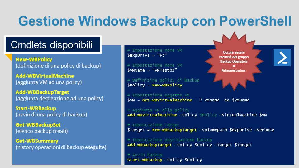 Gestione Windows Backup con PowerShell