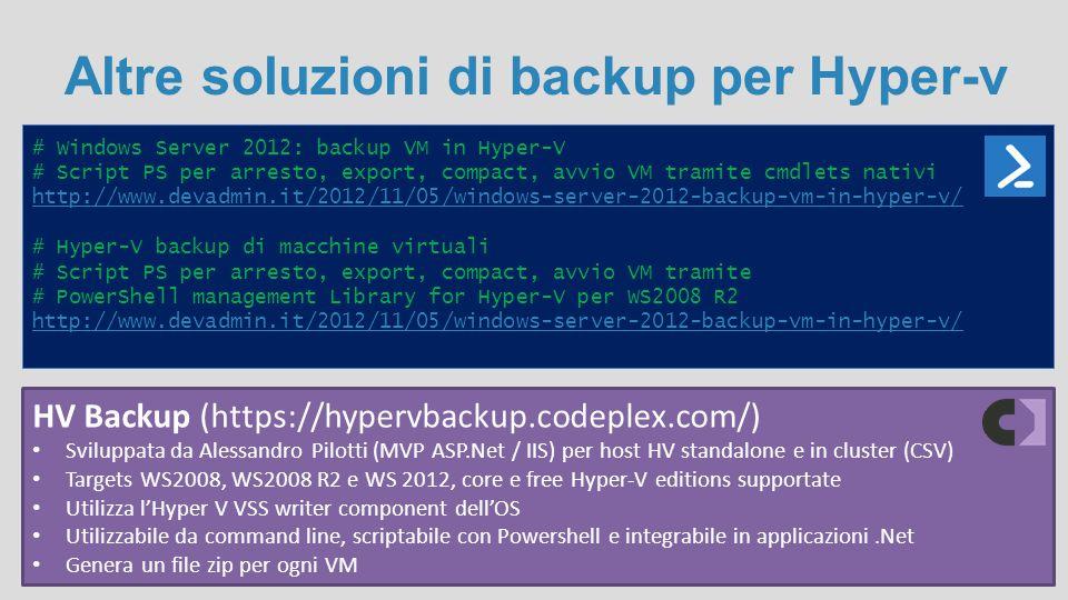 Altre soluzioni di backup per Hyper-v