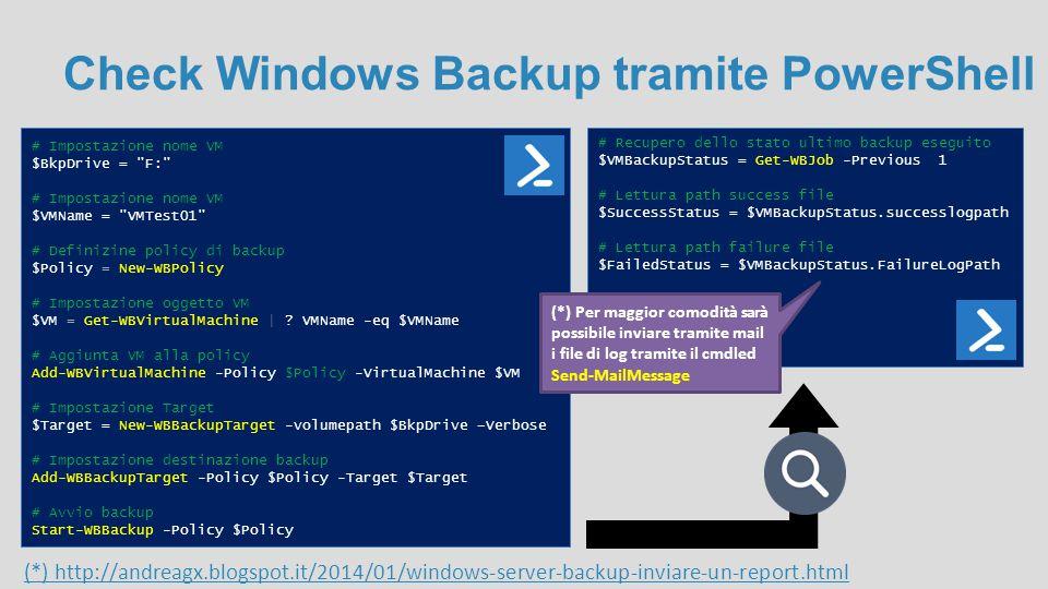 Check Windows Backup tramite PowerShell