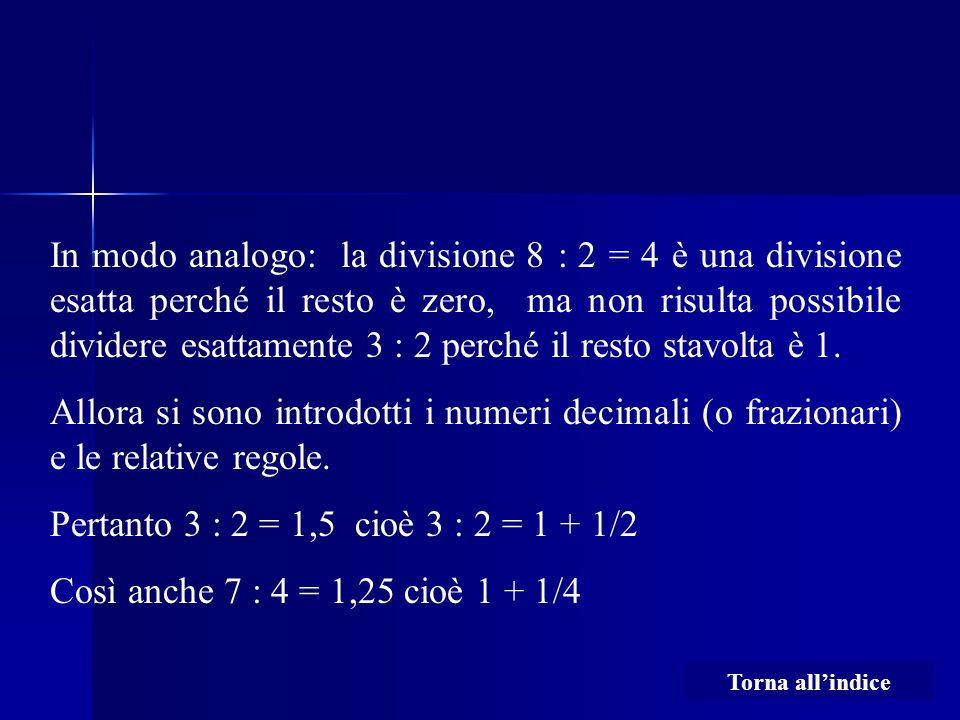 In modo analogo: la divisione 8 : 2 = 4 è una divisione esatta perché il resto è zero, ma non risulta possibile dividere esattamente 3 : 2 perché il resto stavolta è 1.