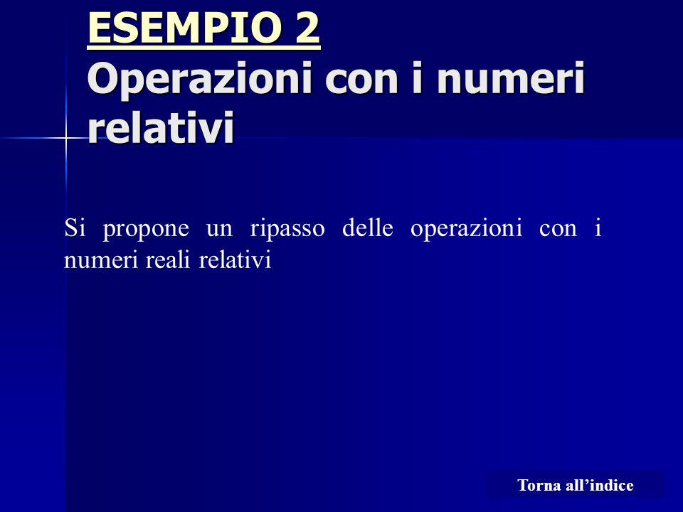 ESEMPIO 2 Operazioni con i numeri relativi