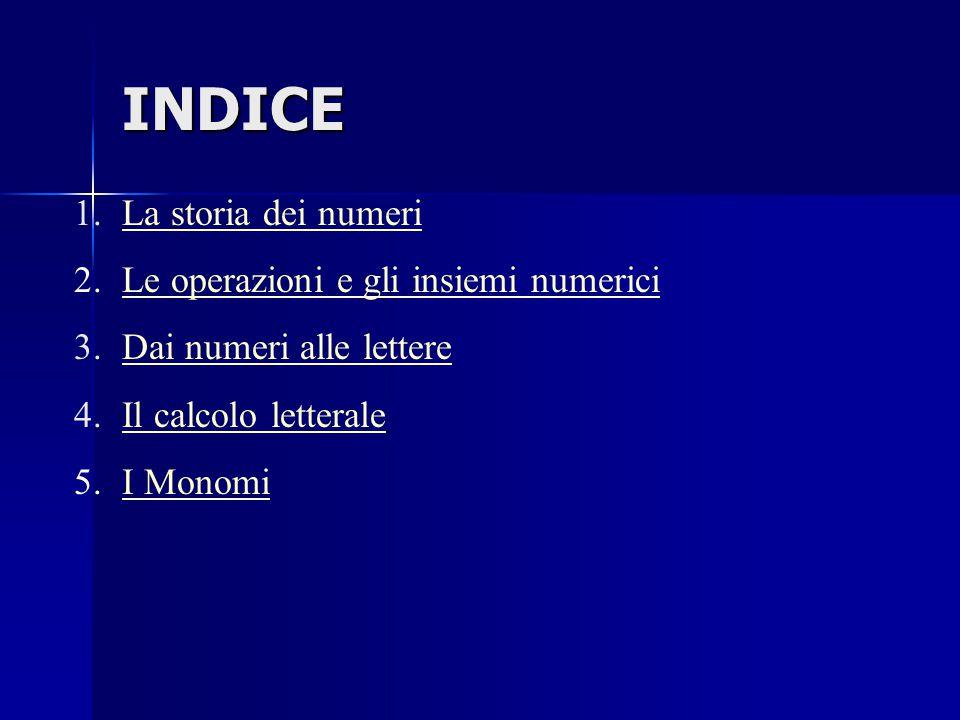 INDICE La storia dei numeri Le operazioni e gli insiemi numerici