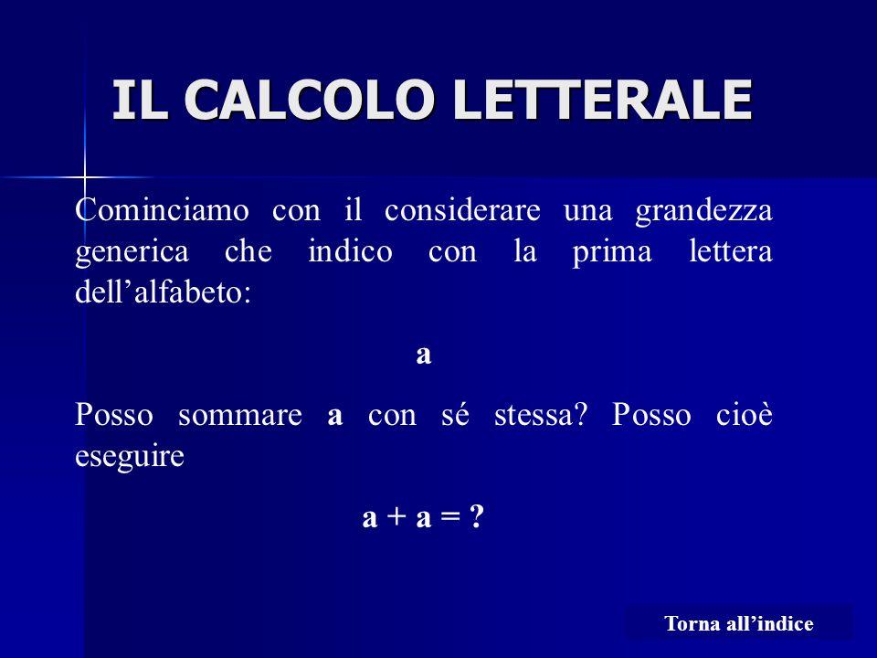 IL CALCOLO LETTERALE Cominciamo con il considerare una grandezza generica che indico con la prima lettera dell'alfabeto: