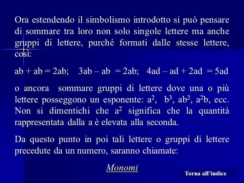 ab + ab = 2ab; 3ab – ab = 2ab; 4ad – ad + 2ad = 5ad