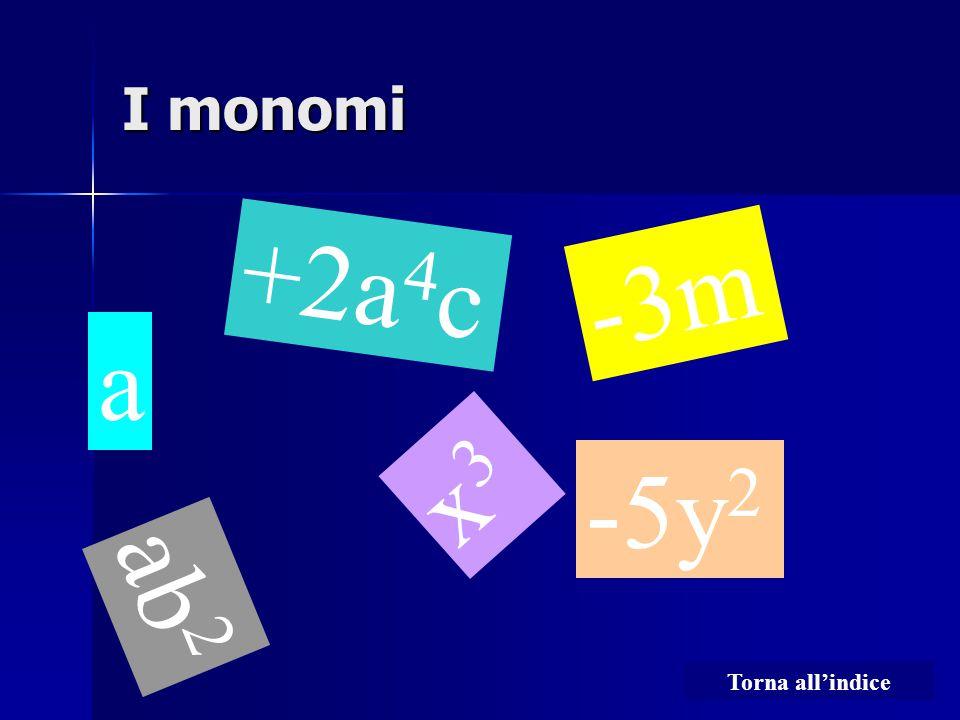 I monomi +2a4c -3m a x3 -5y2 ab2 Torna all'indice