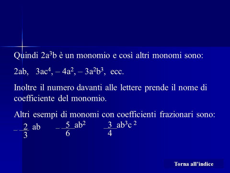 Quindi 2a3b è un monomio e così altri monomi sono: