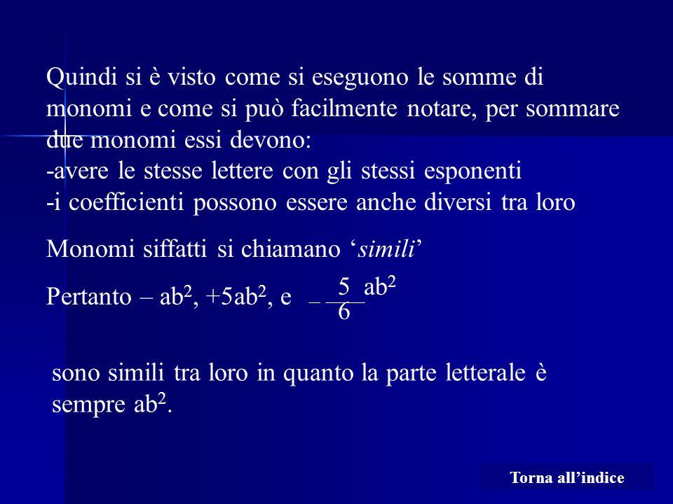 Monomi siffatti si chiamano 'simili' Pertanto – ab2, +5ab2, e
