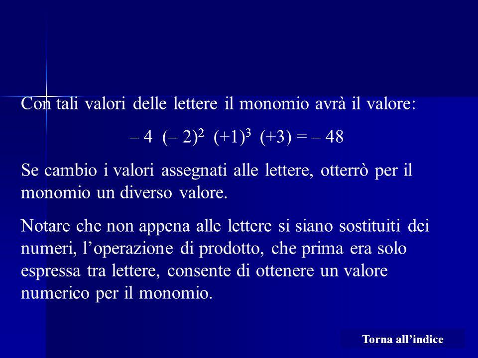 Con tali valori delle lettere il monomio avrà il valore: