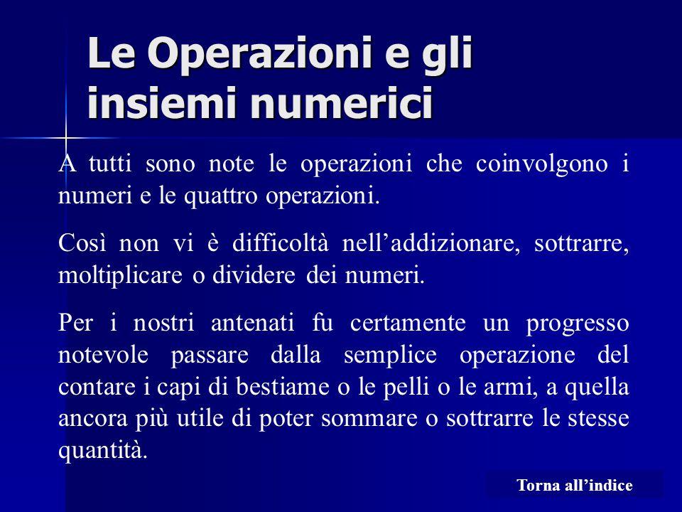 Le Operazioni e gli insiemi numerici