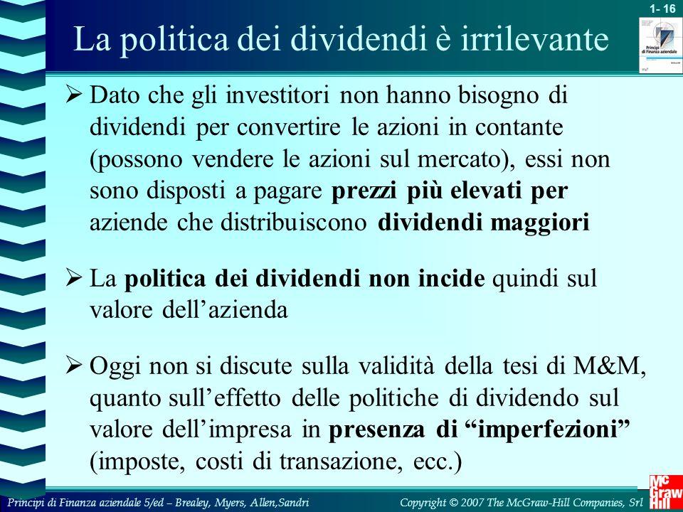 La politica dei dividendi è irrilevante