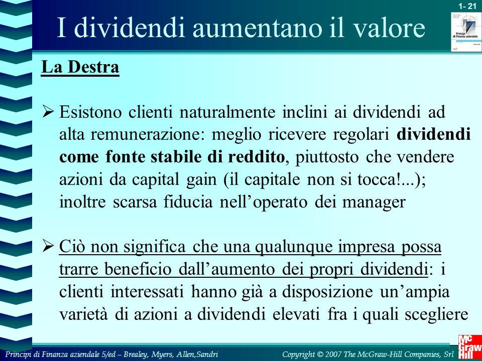 I dividendi aumentano il valore