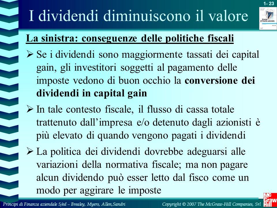 I dividendi diminuiscono il valore