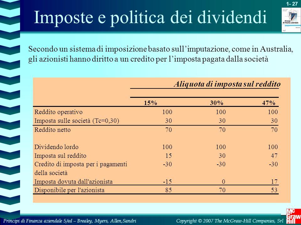 Imposte e politica dei dividendi